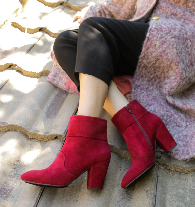 EBRO BURGUNDY SUEDE boots CHiE MIHARA